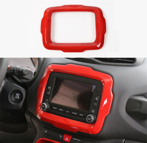 For Jeep Renegade 2015-2017 ABS Red middle control Navigation panel frame trim