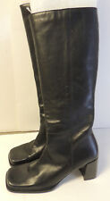 WOMENS NINE WEST BLACK LEATHER KNEE HIGH DRESSY BOOTS SIZE 6M