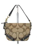 COACH 40347 Carly Khaki Signature Jacquard Brown Baguette Mini Handbag