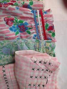 """VINTAGE Lot of 5 Hand Made Aprons - Colorful - """"Farm Chic"""" - 1950's..2 with Bibs"""