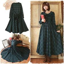 Vintage Japanese Lolita Sweet Cassic Plaid Green Dress Mori Girl Long Sleeve #21