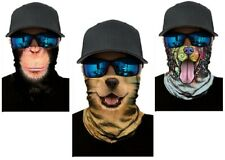 3 pcs Dog Chimp Happy FACE MASK Smile Balaclava Hood Sport Tube Scarf Gaiter