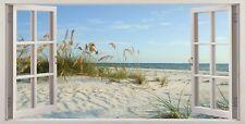 "Sand Dunes Beach British Holiday Scene 16""x20"" Canvas Picture 3D Window Effect"