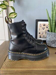 Dr Martens Jadon smooth Black leather platform boots size UK 5 38 sinclair quad