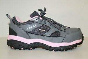Women's Skechers Comp Toe Work Oxford Shoes Sz 7.5 / 37.5 Gray / Pink Leather