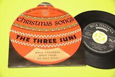 "THE THREE SUNS 7"" CHRISTMAS SONGS ORIG ITALY '50 EX ! COPERTINA SAGOMATA PALLA !"