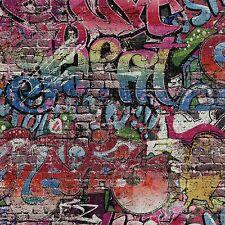 Multi Graffiti Carta da parati Urban Strada Arte su Effetto Mattoni 05530-10