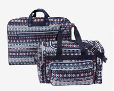 Fair Isle 2 Pc Travel Set Garment Bag & Duffel Many Pockets Adjustable Strap NEW