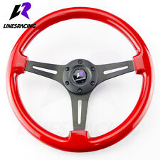 350MM 6 Hole  CLASSIC WOOD GRAIN Red Chrome STEERING WHEEL w/ Horn For  NISSAN