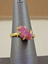 Genuine Ruby Rough Nugget Gold Plated Claw Ring - Sz 6.5