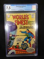 World's Finest Comics #94    CGC 7.5    White Pages    Origin Batman/Superman