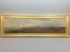 Jean D'ALHEIM 1832-94 Franco-Russe Bord mer animé 1891 GRANDE Huile toile Boudin