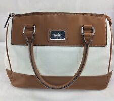 Tignanello Tan And Ivory White Pebbled Short Handle Shoulder Bag Beautiful