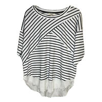 Umgee Short Sleeve Womens Frayed Edge Striped Shirt Size Small Top Blouse