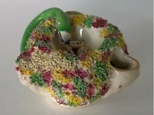 Antique Staffordshire Pottery English Snake & Eggs in Nest Confetti Inkwell Pen