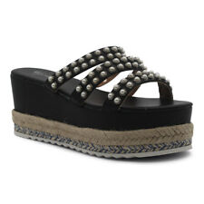 Women's Ladies Espadrilles Slip On Platform Pearls Shoes Wedge Sandals Size 3-8