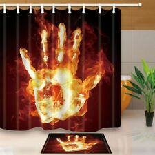 Abstract Decor Flame Palm Against Black Backdrop Waterproof Shower Curtain Set