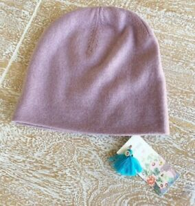 $98 Johnny Was Dusty Rose Pink Cashmere Beanie Hat O/S NWT
