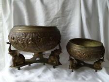 2 Vintage Asian Brass Religious Ceremony Incense Burner Buddha Temple Bowls