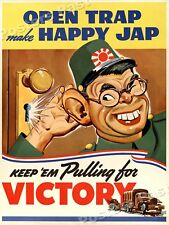 "1940s ""Open Trap - Happy Japanese"" WWII Historic Propaganda War Poster - 18x24"