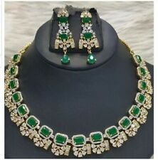 Indian Bollywood Gold Plated American Diamond green Emerald Necklace Set