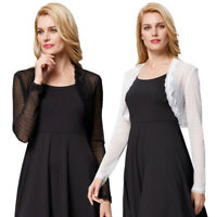 Women Cropped Cardigan See-Through Long Sleeve Open Front Lace Shrug Bolero Tops
