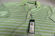 "Bobby Jones 100% Pima Cotton Golf Polo Shirt Green + Blue White Stripe L/XL 42"""