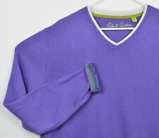 Robert Graham Men's XL Classic Fit Purple Cotton Cashmere Blend V-Neck Sweater