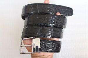 New Casual Men's Belt Genuine Crocodile ,Alligator Leather Black  #TGN015