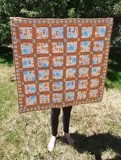 "Vintage Safari Animals Patchwork Baby Crib Quilt 38"" x 38"" Orange/Yellow/Teal"