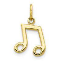10k Yellow Gold Musical Note Charm Pendant 16 mm x 11 mm 0.53gr