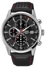 Lorus Mens Chrono Watch Black Dial Black Strap RM335DX9 RRP £150