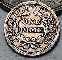 1857 Seated Liberty Dime 10c High Grade Details Good Date US Silver Coin CC7134
