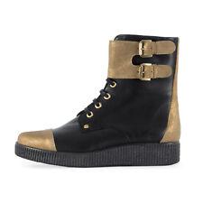 ANAKI Damen Leder Ankle Boots Kate Cuir Noir Capucchino / 37 / Stiefeletten