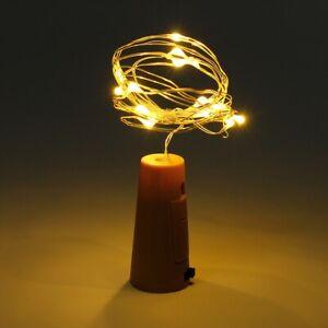 2M WINE BOTTLE LIGHTS Warm White LED Fairy Wedding Cork Shaped Battery Christmas