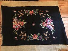 Vintage Rectangle Vtg Wool ROSES Needlepoint Canvas COMPLETED Black BENCH