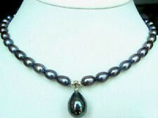 """7-8MM Rice Black Akoya Cultured Pearl/Shell Pearl Pendant(12x16MM) Necklace 18"""""""