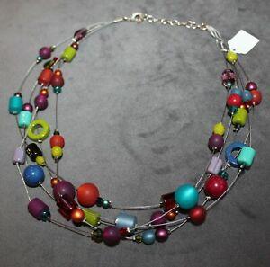 Adi-Modeschmuck; Kette mit bunten Perlen + Strängen; wunderschön; Kette 864; neu