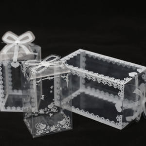 10/50pcs PVC Case Clear Floral Cube Gift Tennis  Display Boxes Toy Candy Package
