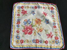 Vintage Ladies' Red, Blue, Yellow & White Floral Print Hankie/Handkerchief