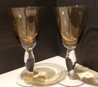 Amber Wine Water Glass Mexican Hand Blown Controlled Bubble Stem Recycled Glass