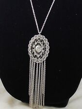 Guess Silvertone Brave New World Openwork Oval Rhinestone Accent Fringe Necklace