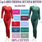 Women THERMAL SET 2pc Top/bottom JUNIOR SLIM FIT UNDERWEAR Long John 100 COTTON