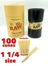 raw classic 1 1/4 size pre rolled cone(100 pack)+raw six variable cone filler