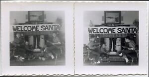LITTLE BOYS TRYING TO CATCH SANTA WITH GUNS, ROPE WEIRD VINTAGE SNAPSHOT PHOTOS