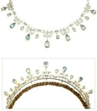 Aqua Pear drop 925 Sterling Silver CZ Convertible Necklace/Tiara Wedding Jewelry