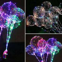 LED BoBo Balloon Lights Transparent 18inch Colorful Luminous w/Sticks Party