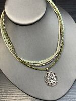 Vintage Bohemian White Grey  green Seed Multi Strand Long Necklace Boho
