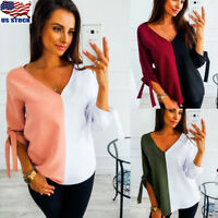Women Long Sleeve Bandage V Neck T Shirt T-Shirt Casual Loose Blouse Jumper Tops