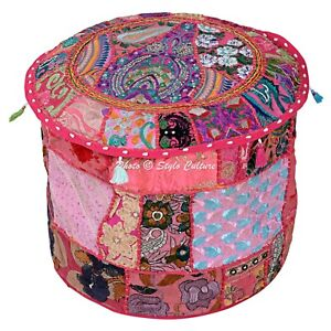 """Ethnic Footstool Pouf Cover Patchwork Embroidered Big Round Ottoman Bohemian 16"""""""